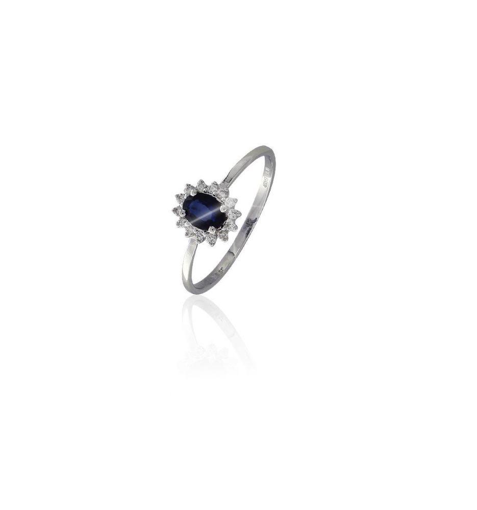 4842a82ef3f6 Anillo Oro blanco 18k diamantes y zafiro