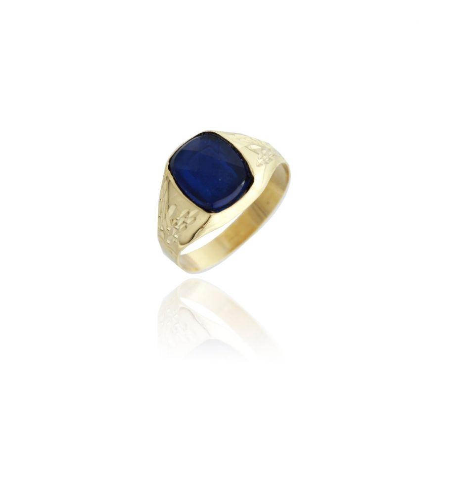 1f992a55e7bf Sello Cadete Piedra azul Oro 9k