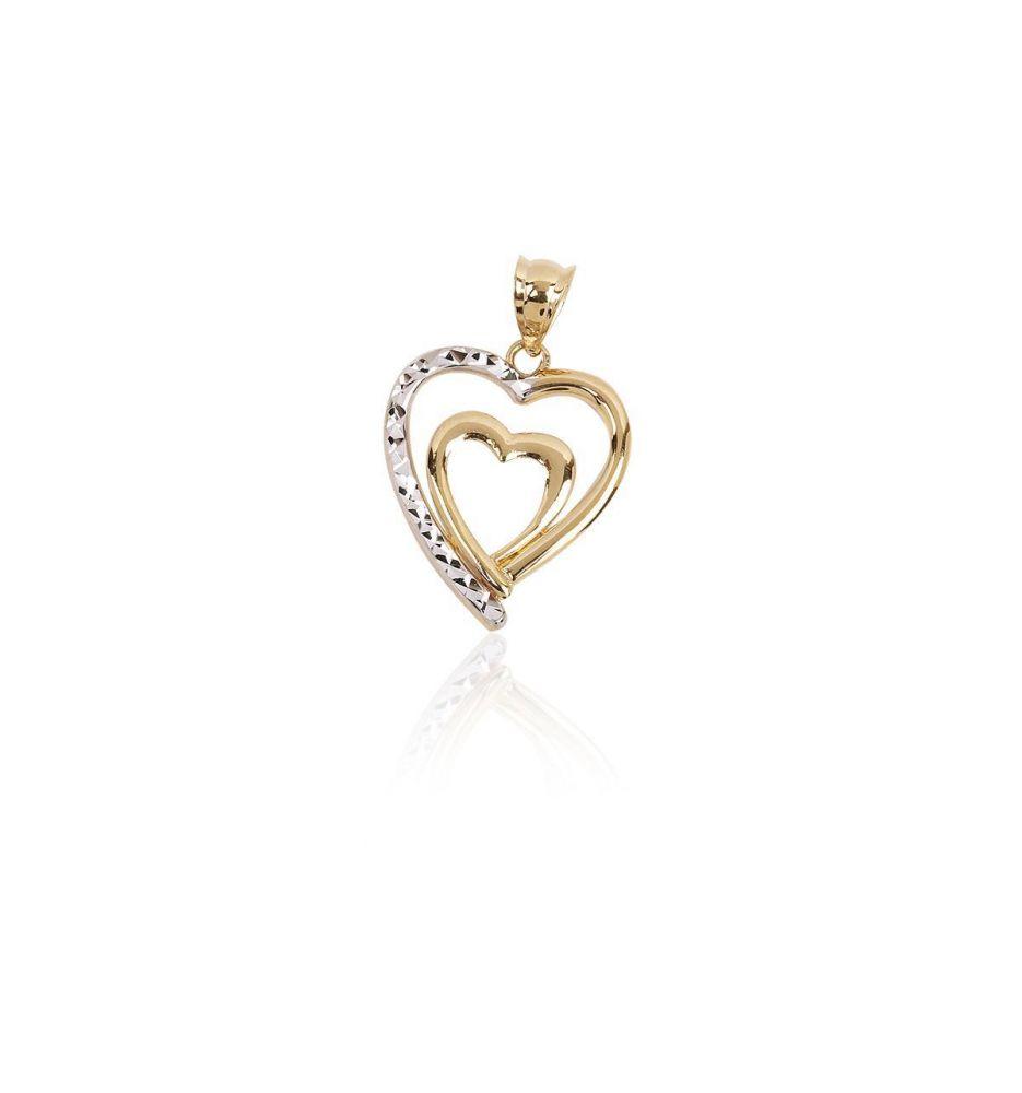 50552f2fdda5 Colgante Oro 18k doble corazón bicolor