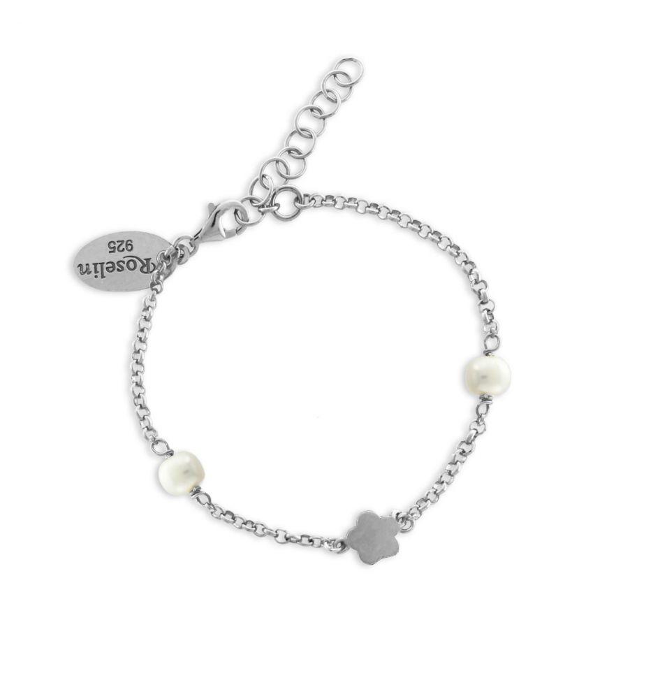 4ce113dd3342 Pulsera niña plata y perlas