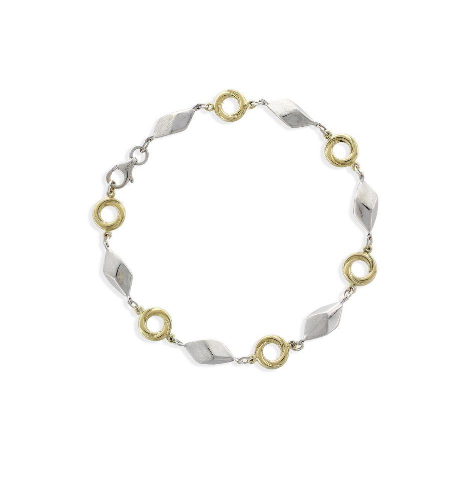 424bdca61dc2 Pulsera Oro y plata rombos