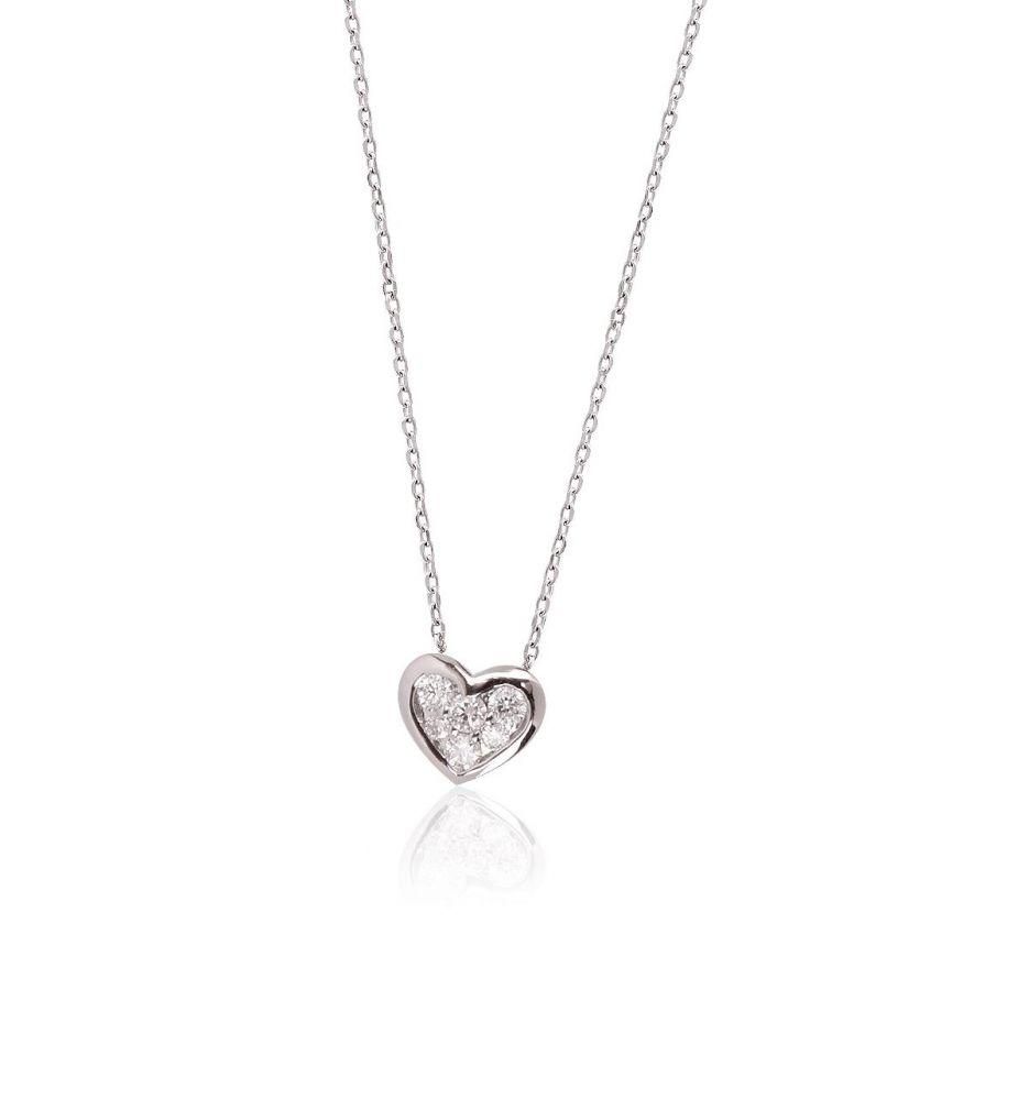 11595b16b5c4 Gargantilla Oro blanco 18k y diamantes corazón