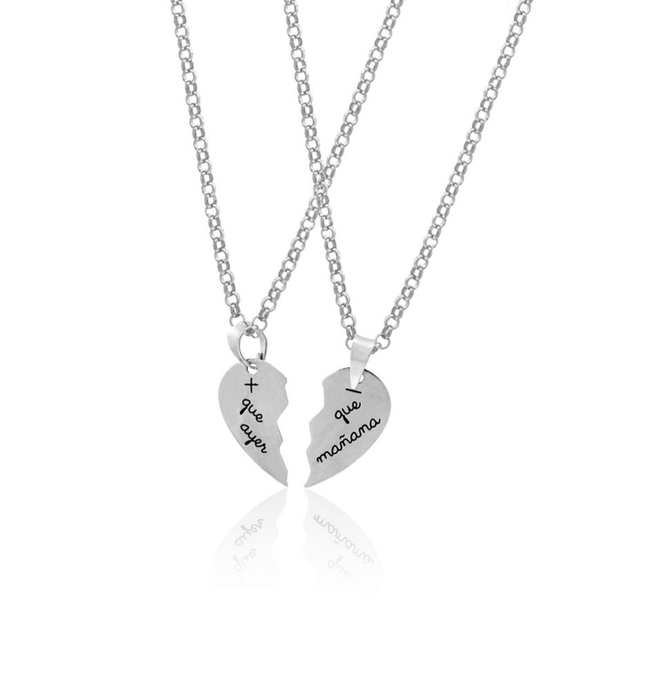 ccbffe5188a9 Pareja gargantilla plata corazón partido Roselin