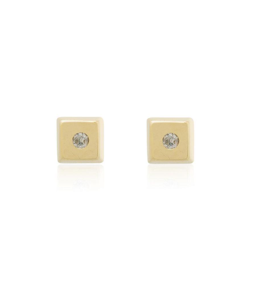 55d6a13539c5 Pendientes bebé Oro 18k y diamante cuadrados