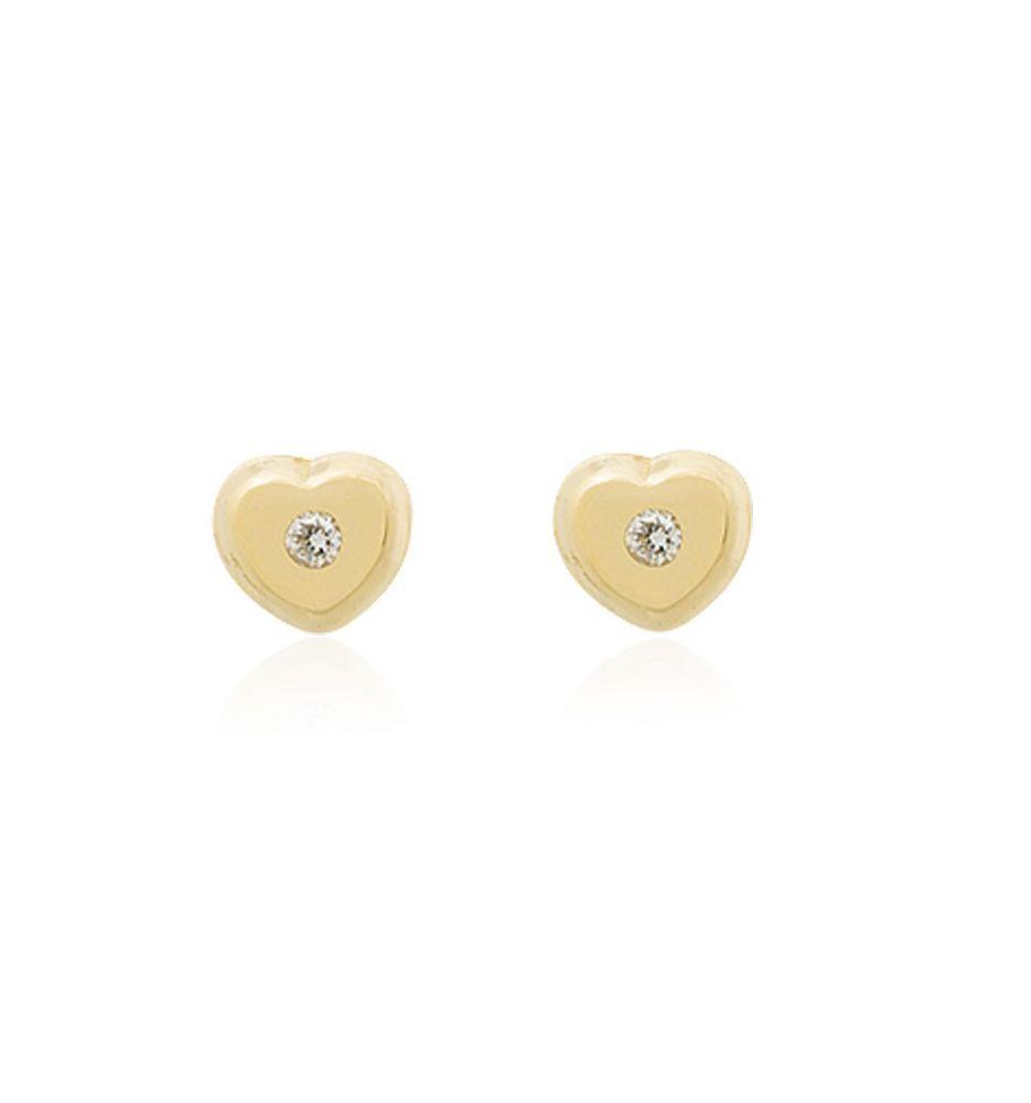 776c6fb846e5 Pendientes bebé Oro 18k y diamante corazón