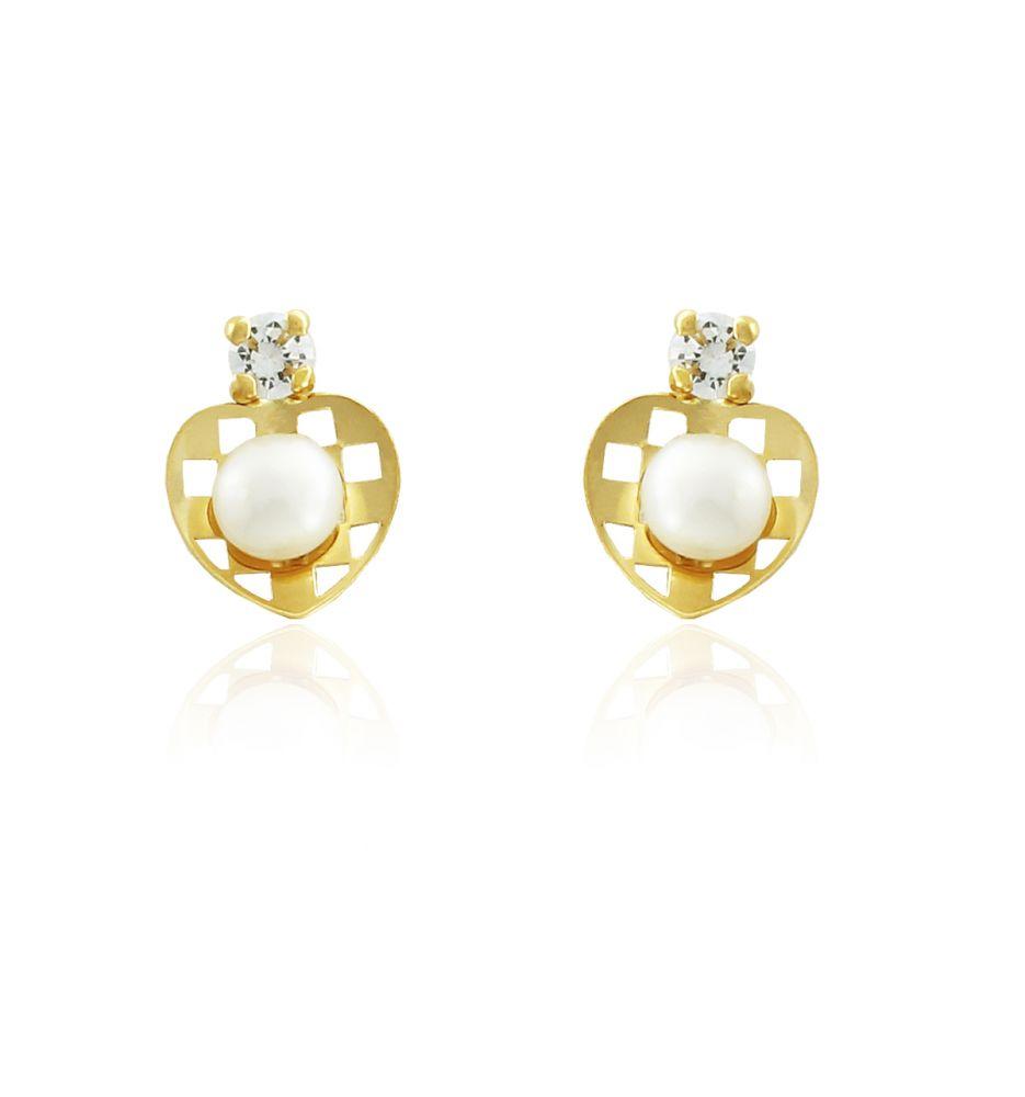 ee0827ea9cdf Pendientes niña Oro 18 kts corazón perla y piedra
