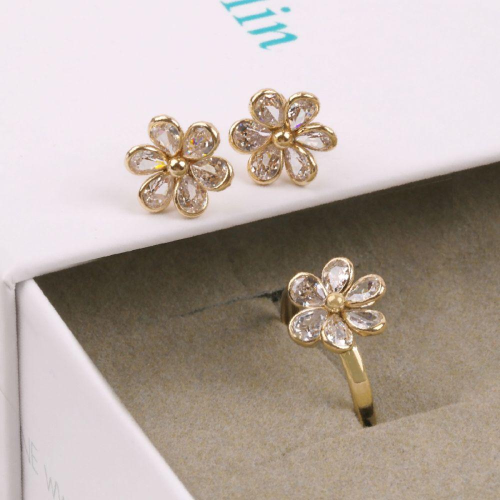 Pendientes Oro 9k circonitas flor