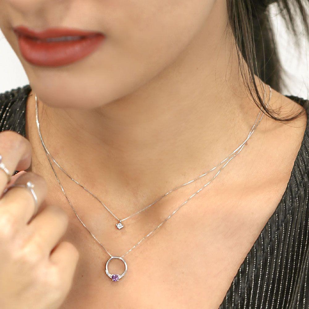 Gargantilla Oro blanco 18k diamantes y amatista