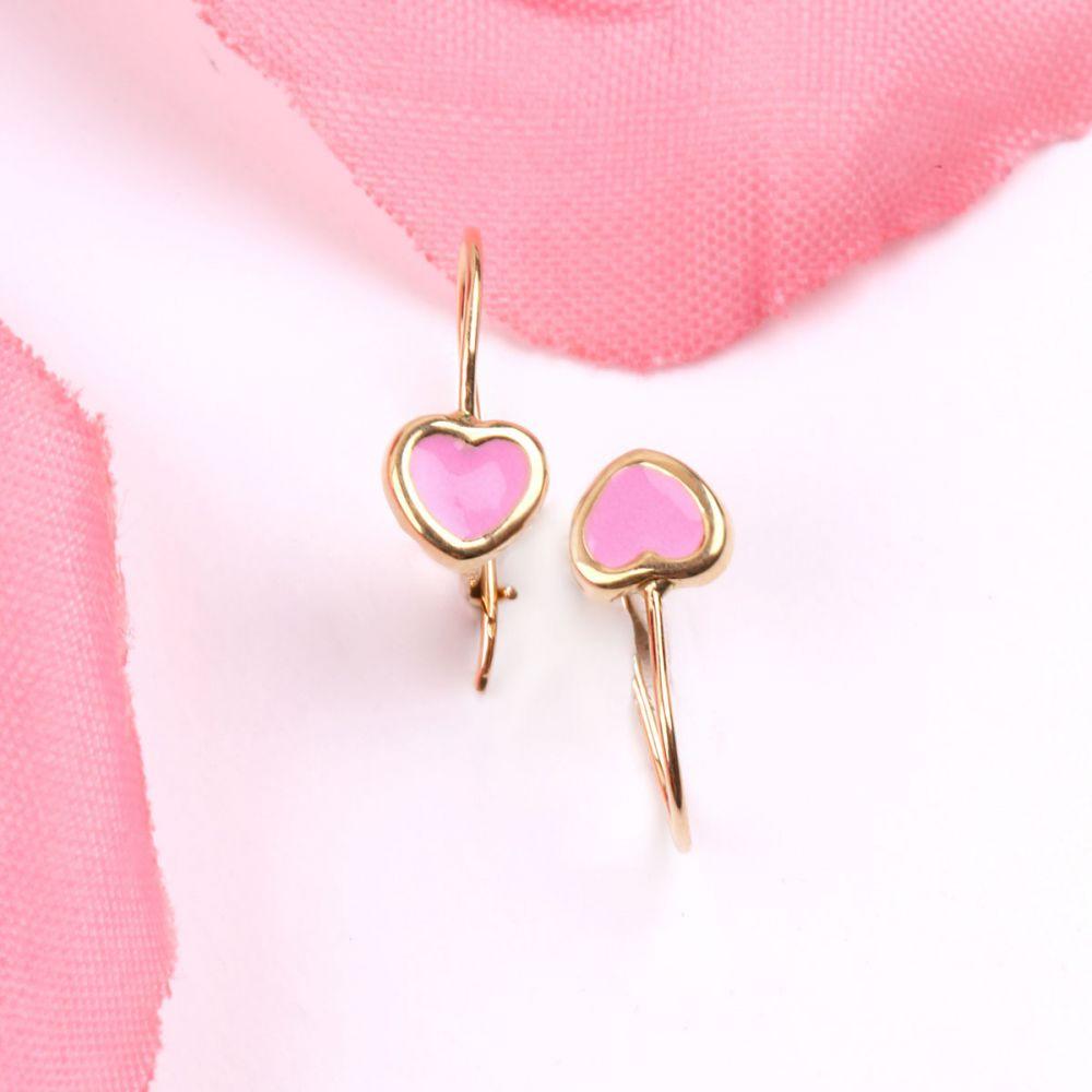 Pendientes oro 18k corazón rosa