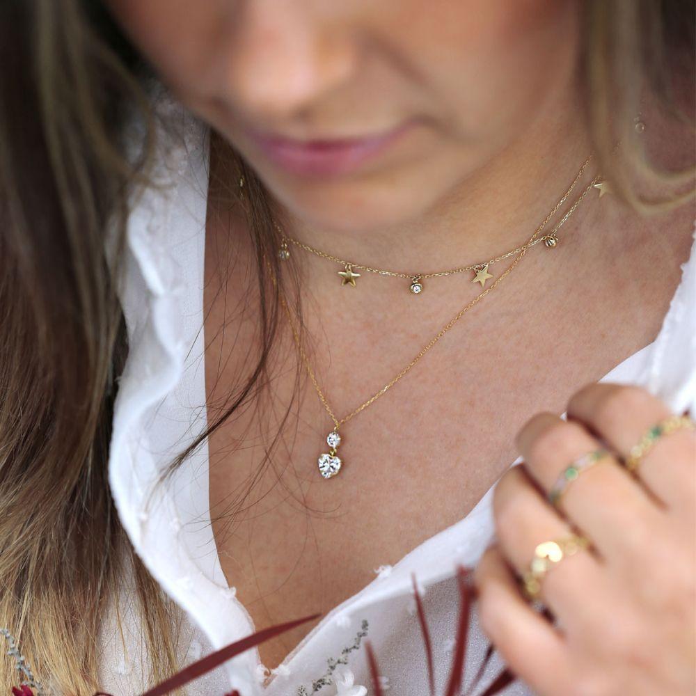 Gargantilla Oro 18k piedras en forma de corazón