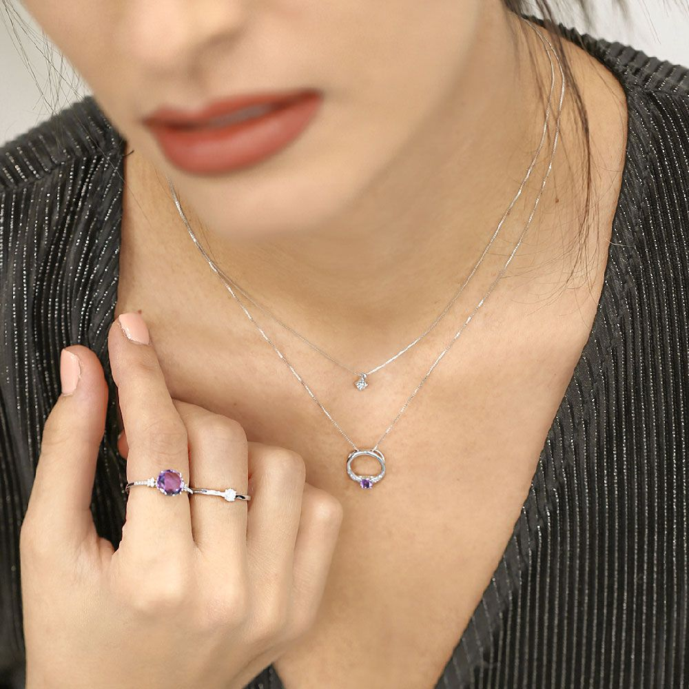 Anillo Oro 18k diamantes y amatista