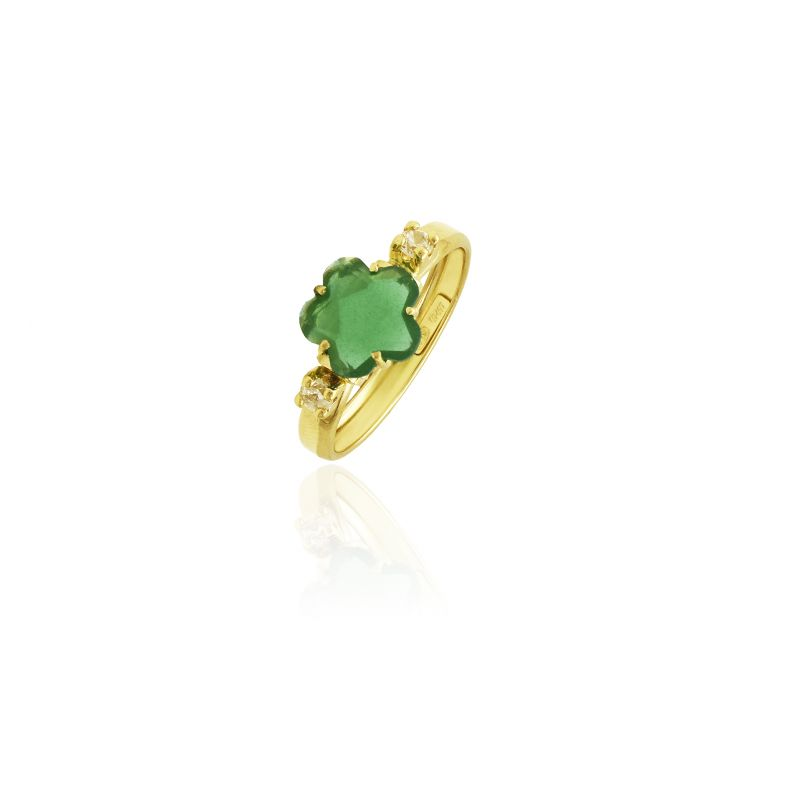 Sortija Oro Piedra Color Verde Flor Nº13