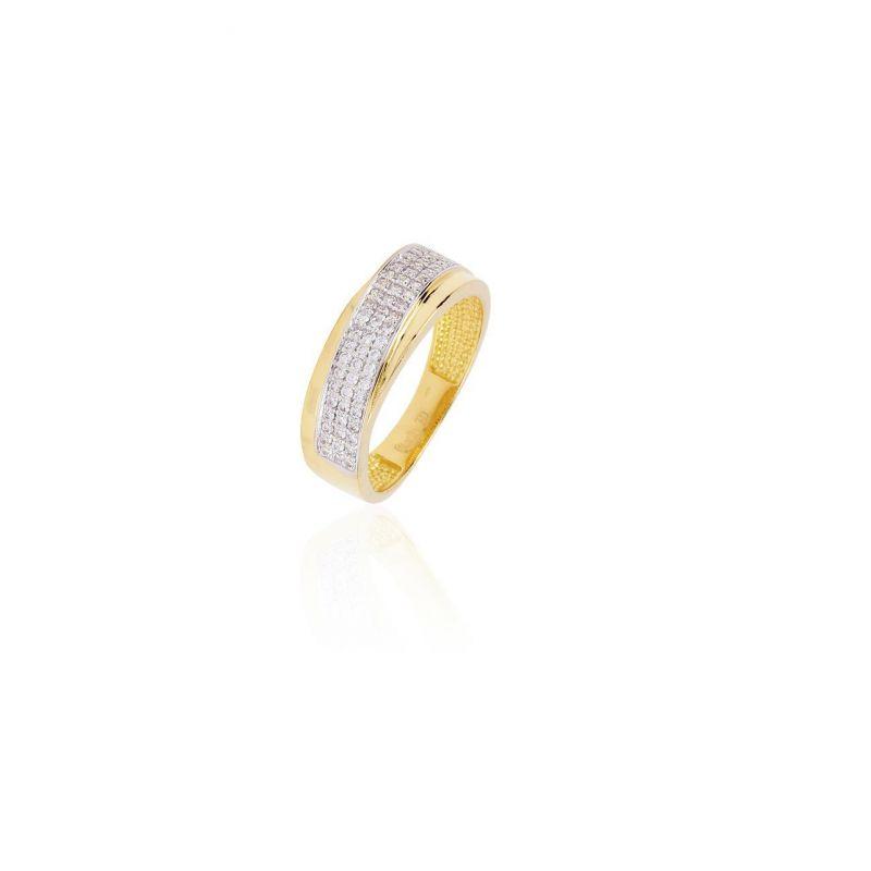 Sortija Oro Piedra Bicolor Cruzada 3 Filas Nº11