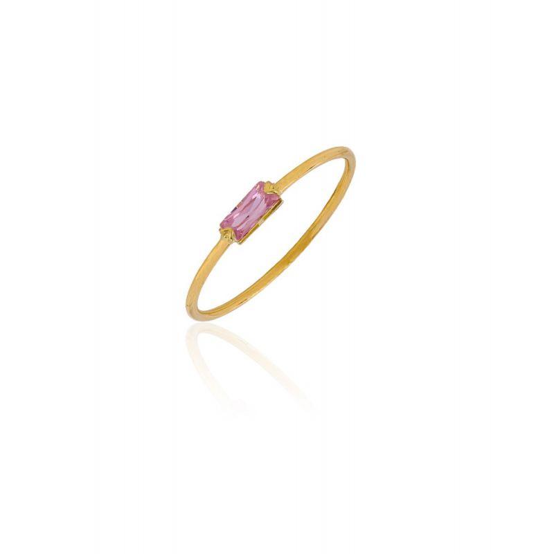 Anillo Oro 18k circonita rosa