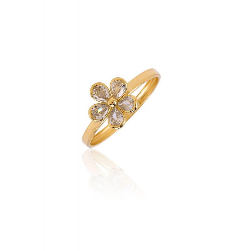 Anillo Oro 18k flor circonitas