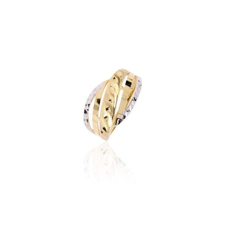 Anillo Oro 18k bicolor diamantado