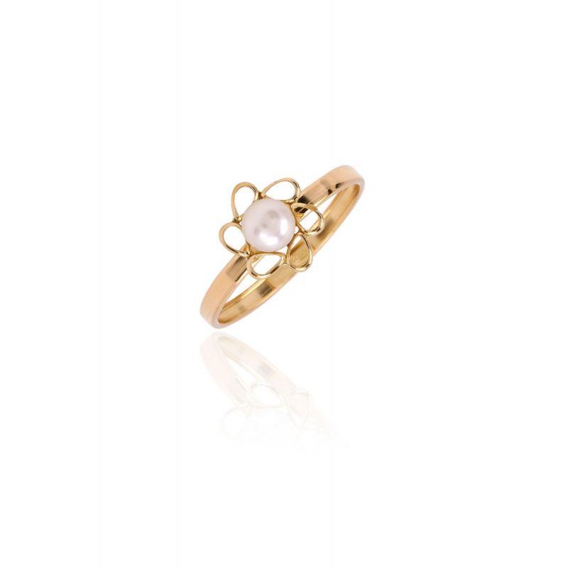 Anillo Oro 18k flor-perla