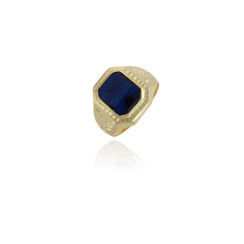 Sello caballero piedra azul octagonal Oro 18k