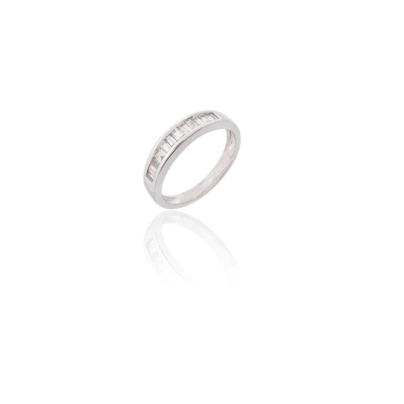 Anillo Oro Blanco 18k y diamantes baguette