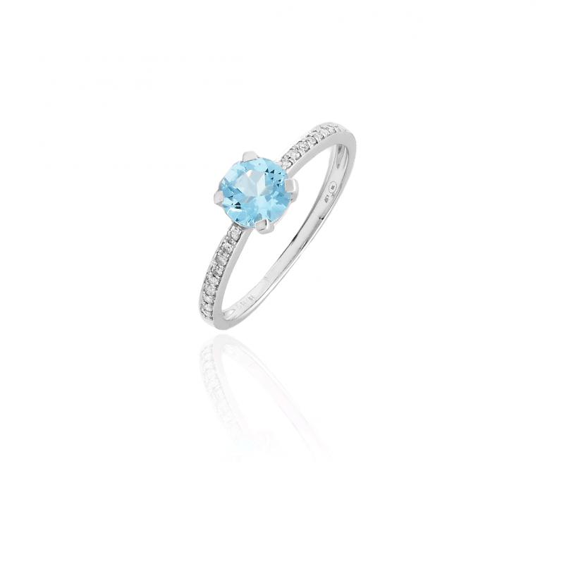 Anillo Oro blanco 18k Diamantes y Topacio