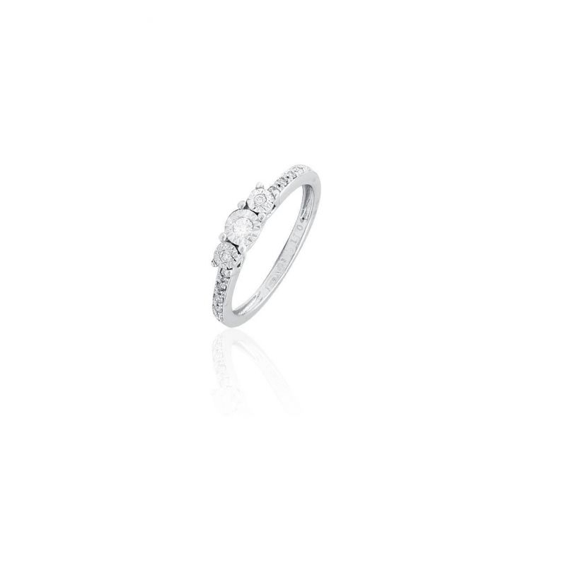 Anillo Oro blanco 18k y diamantes tresillo