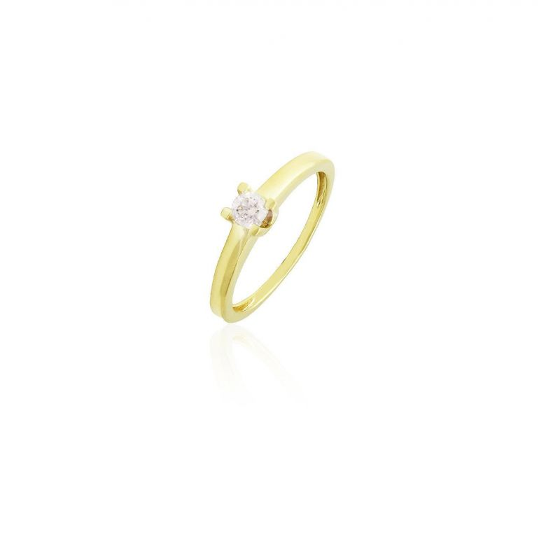 Anillo solitario Oro 18k y diamante