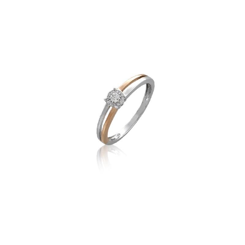 Anillo bicolor Oro 18k y diamantes