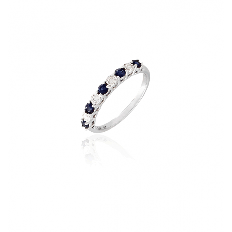 Anillo Oro 18k diamantes y zafiros