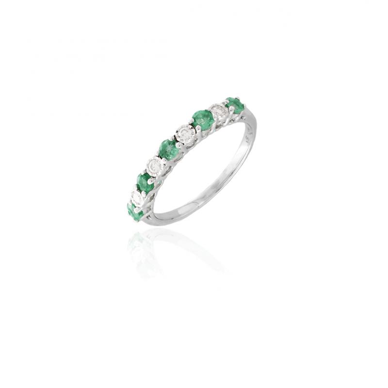 Anillo Oro 18k diamantes y esmeraldas