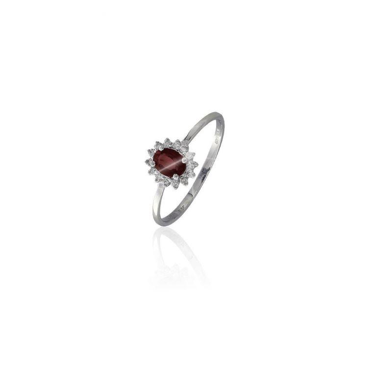 Anillo Oro 18k diamantes y rubí