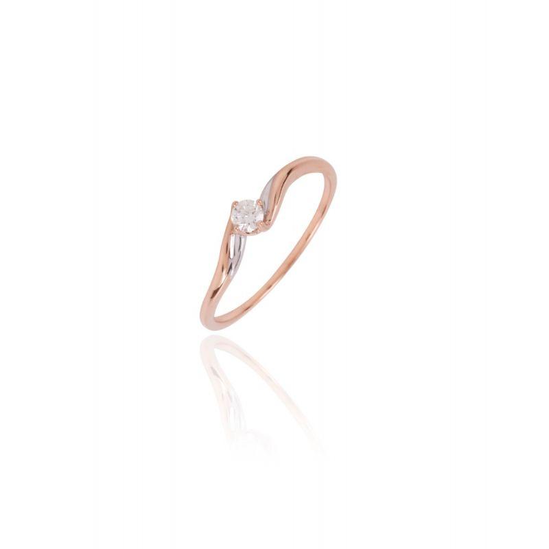 Anillo bicolor Diamante Oro 18k