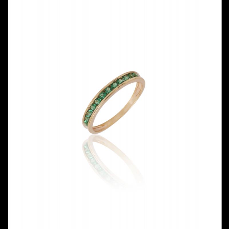 Anillo Oro 9k Piedra Verde Carril