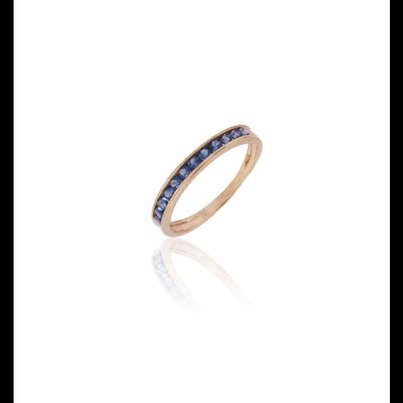 Anillo Oro 9k Piedras Azul Carril