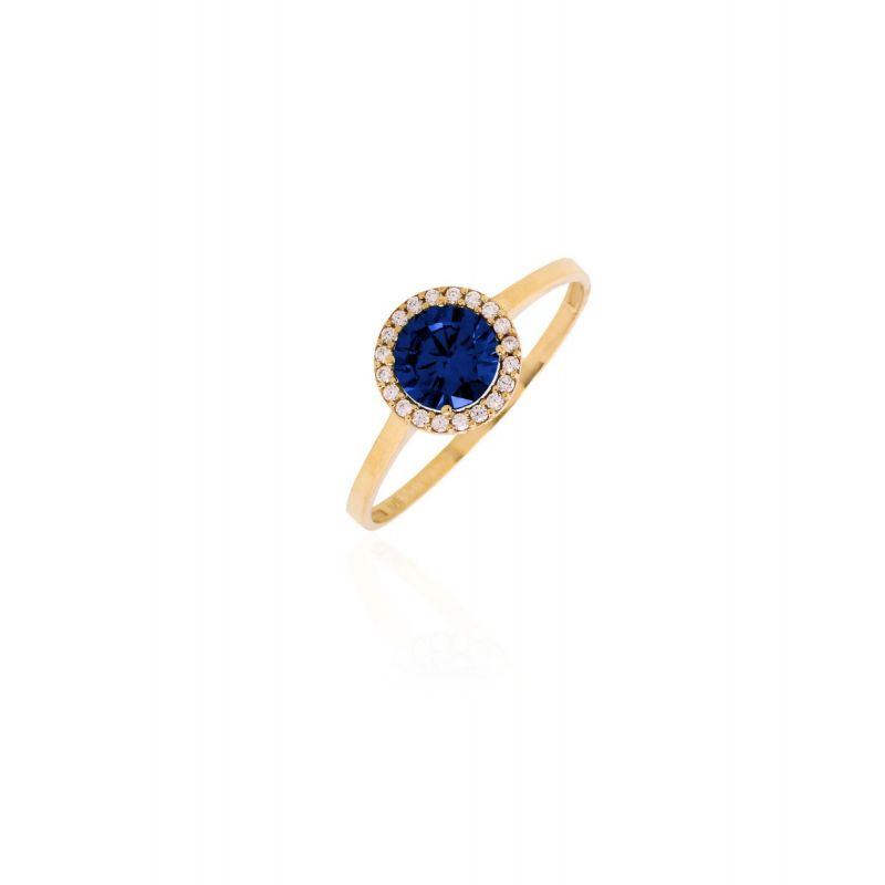 Anillo Oro ley 9kts Circular piedra azul
