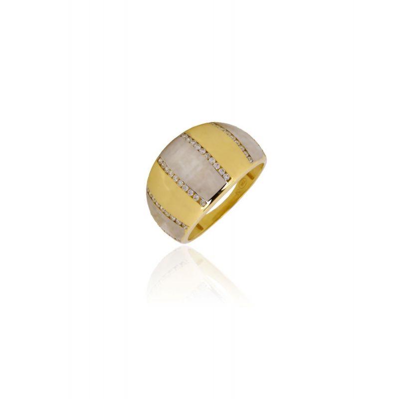 Sortija Oro 9k bicolor con piedras