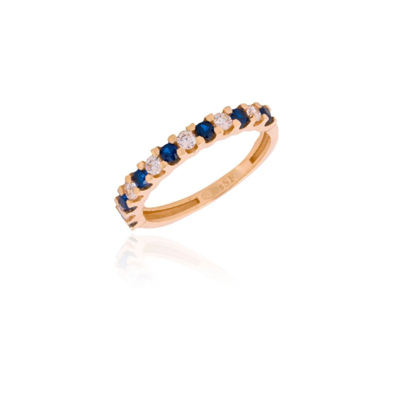 Anillo Oro 9k Multipiedra Azul