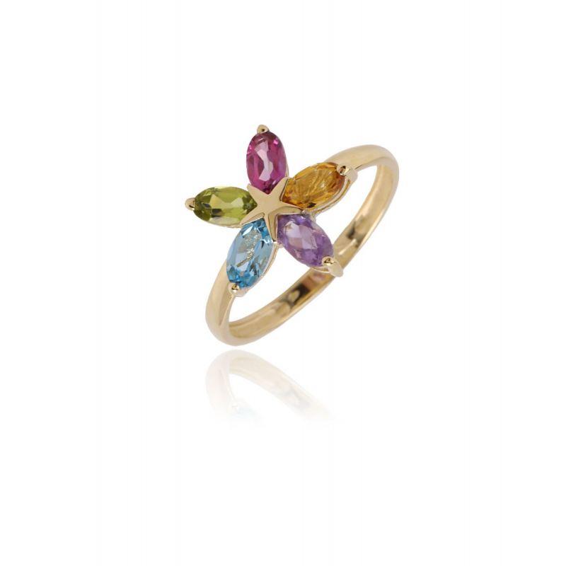 Anillo Oro ley 9k Flor Multicolor