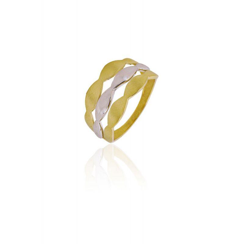 Anillo Oro 9k triple ovales bicolor