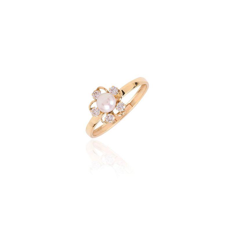 Anillo Oro 9k perla y circonitas flor