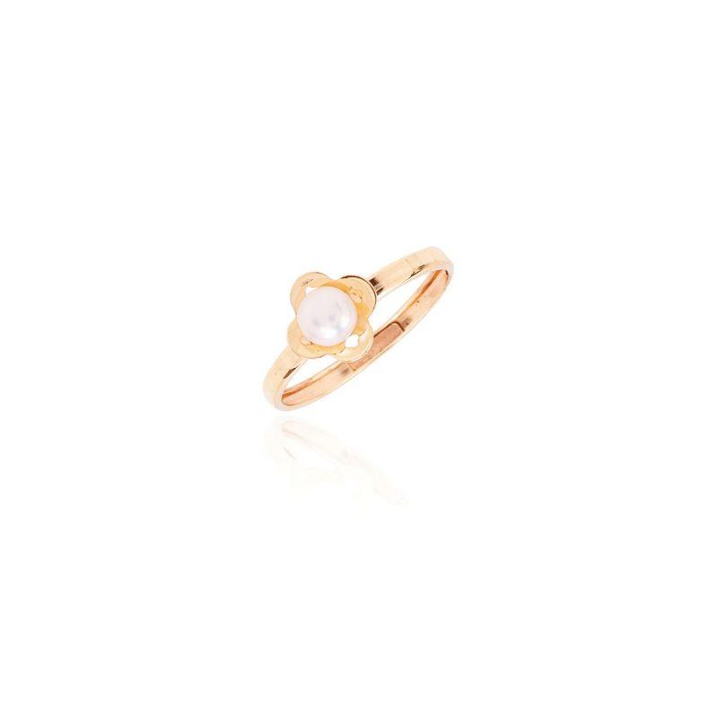 Anillo Oro 9k perla trébol
