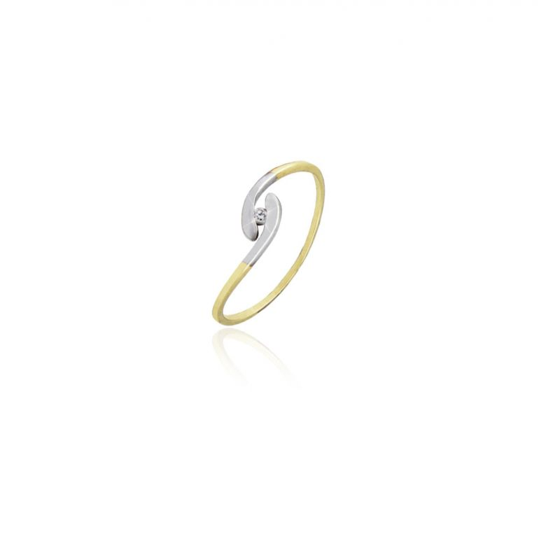 Anillo solitario Oro 9k bicolor y diamantes