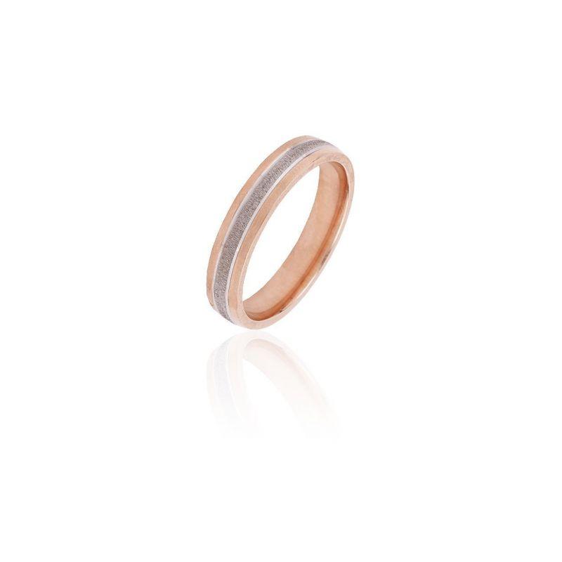 Alianza plata bicolor rosa 4mm