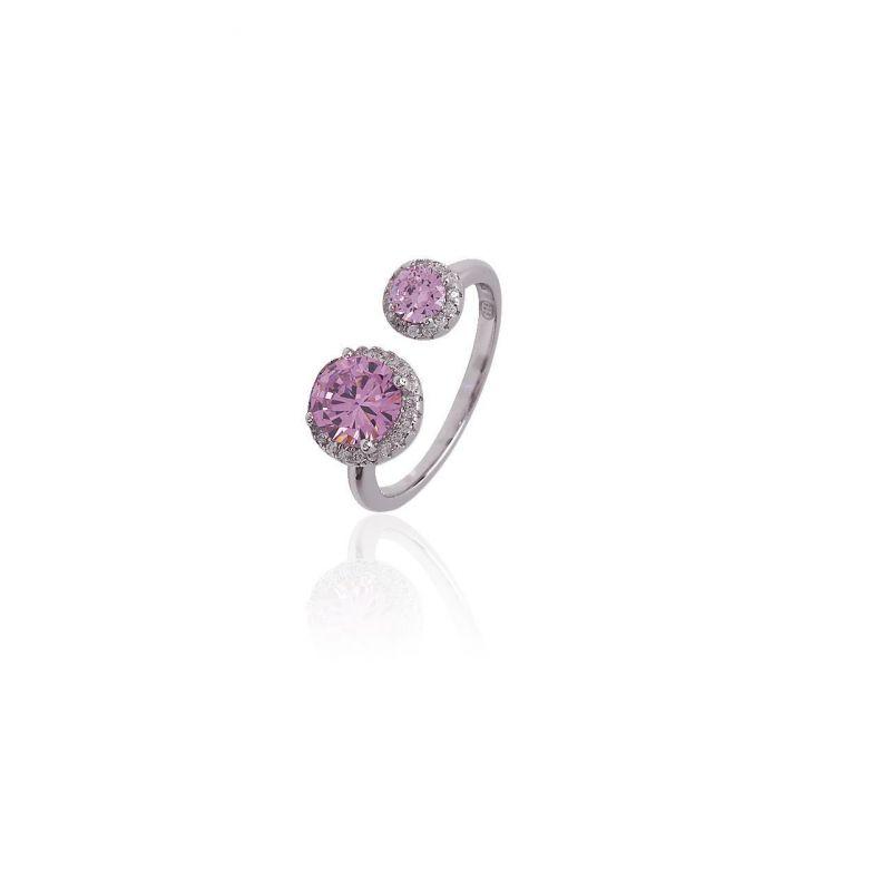 Anillo plata doble piedra rosa Luxilver