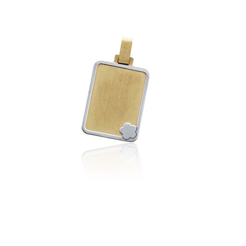 Colgante liso bicolor Oro 18k