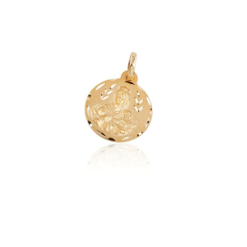 Colgante Oro 18k medalla virgen