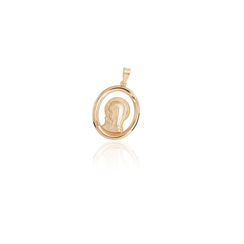 Colgante Oro 18k Medalla Virgen Oval