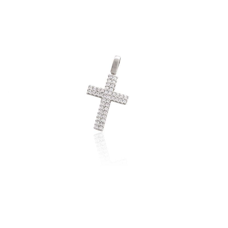 Colgante Oro blanco 18kts cruz circonitas