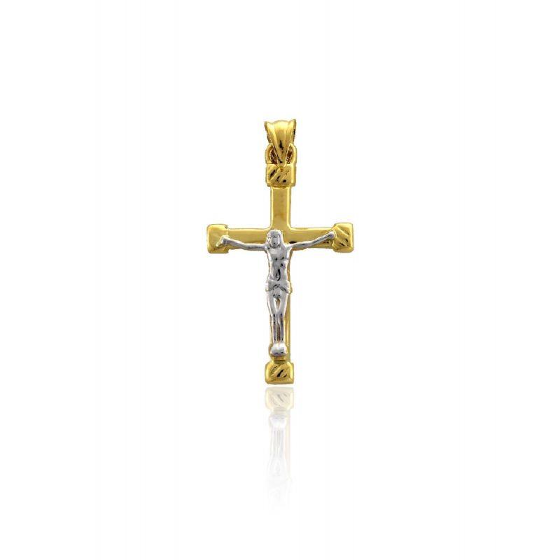 Colgante Oro 18k bicolor Cristo relieve