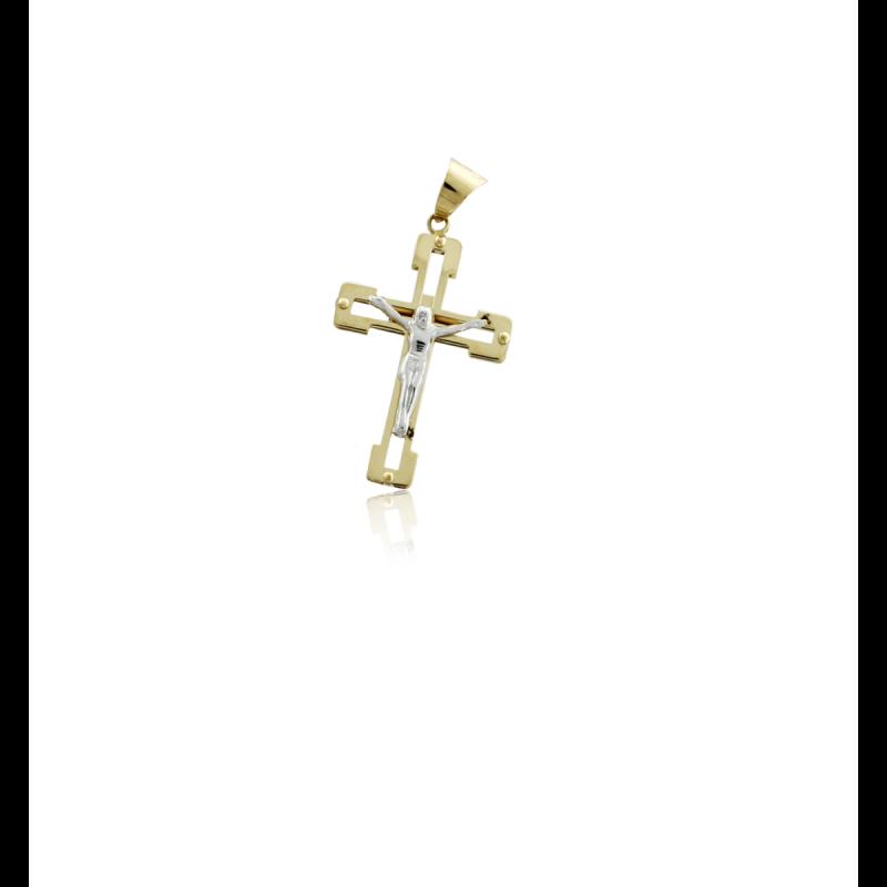 Cruz bicolor Cristo 18k