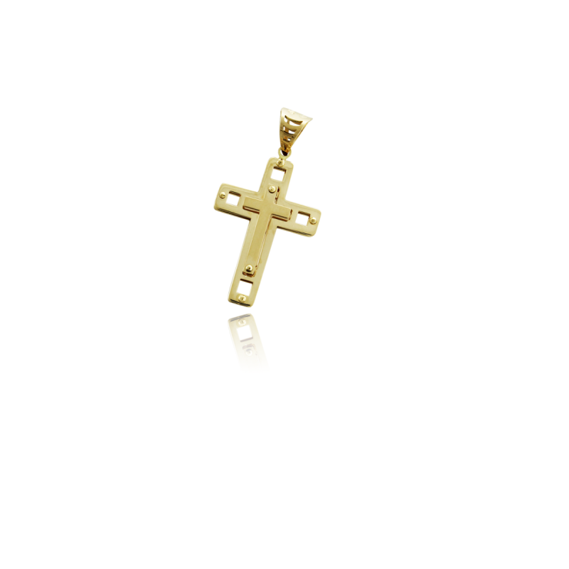 Cruz doble lisa 18k
